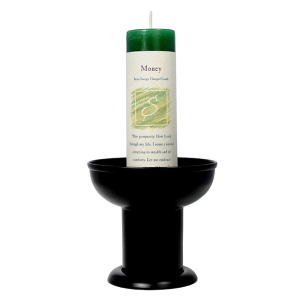 Black Herbal Pillar Holder