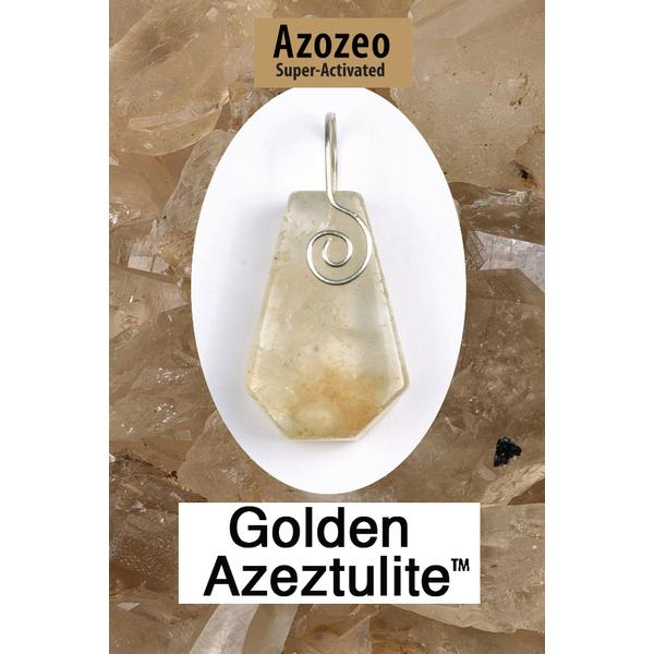 Golden Azeztulite Spiral Front Wire Wrap Pendant