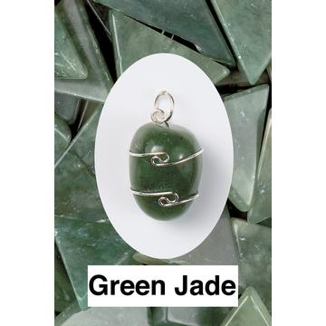 Green Jade Wire Wrap Pendant