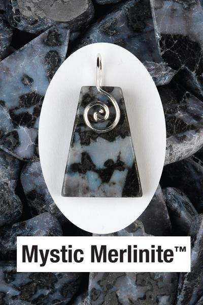 Mystic Merlinite Spiral Front Wire Wrap Pendant